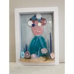 Tableau Dame , verre fusing et perles filées au chalumeau
