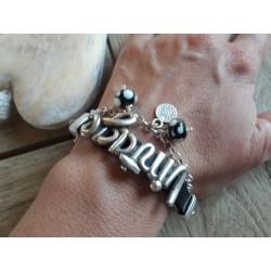 Bracelet cuir blanc, vintage, perles filées