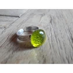 Bague , verre fusing, vert clair