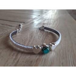 Bracelet cuir et verre dichroique vert jaune