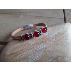 Bracelet cuir et verre fusing