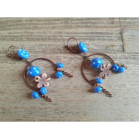 Boucles d'oreille , cuivre, perles en verre , lampwork