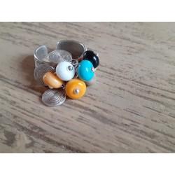 Bague réglable, perles filées au chalumeau