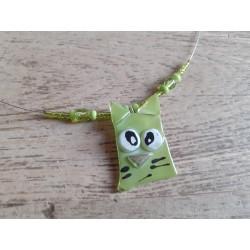 Collier chat verre fusing, vert