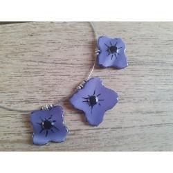 Collier fleurs en verre fusing