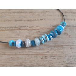 Collier , perles en verre filé au chalumeau